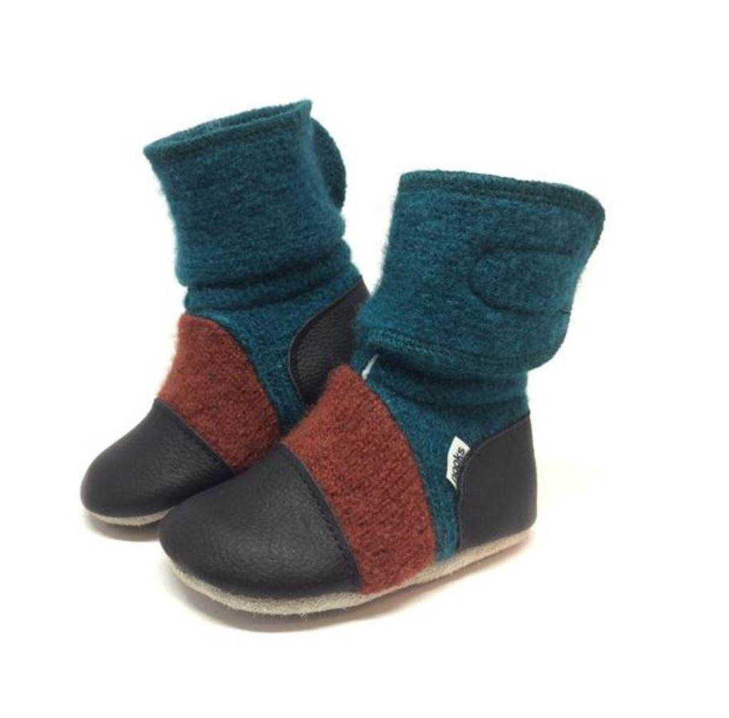'Mistral' leather & wool booties, 2-3 yrs