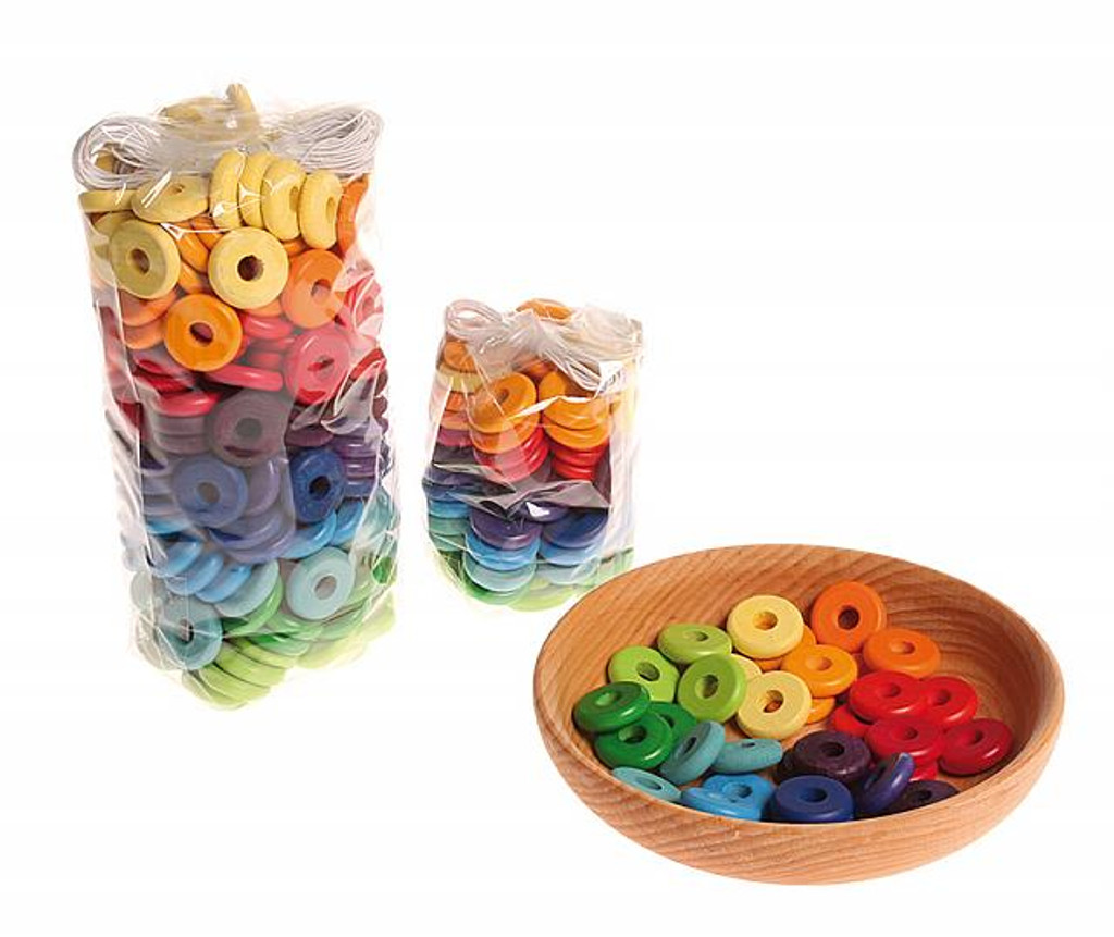 wooden bead disc, multi-coloured 20mm