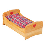 wooden dolly bed with heart