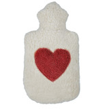 organic cotton and rubber hot water bottle with heart motif