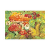 Autumn gnome by Marjan van Zeyl.  Postcard.  10.7 x 15 cm.  Printed in the Netherlands.