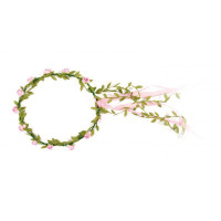 flower crown, pink flowers