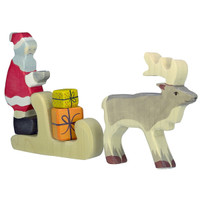 Holztiger Father Christmas with presents and sleigh, pulled by reindeer.