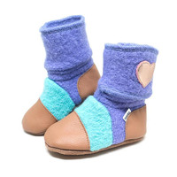 'Mermaid' leather & wool booties, 2-3 yrs