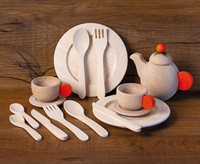wooden place setting for 2, with teaset