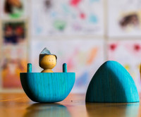 wooden egg, with little elf