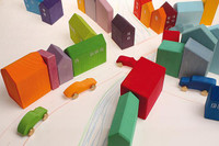 Grimm's handpainted little houses, town set up with cars