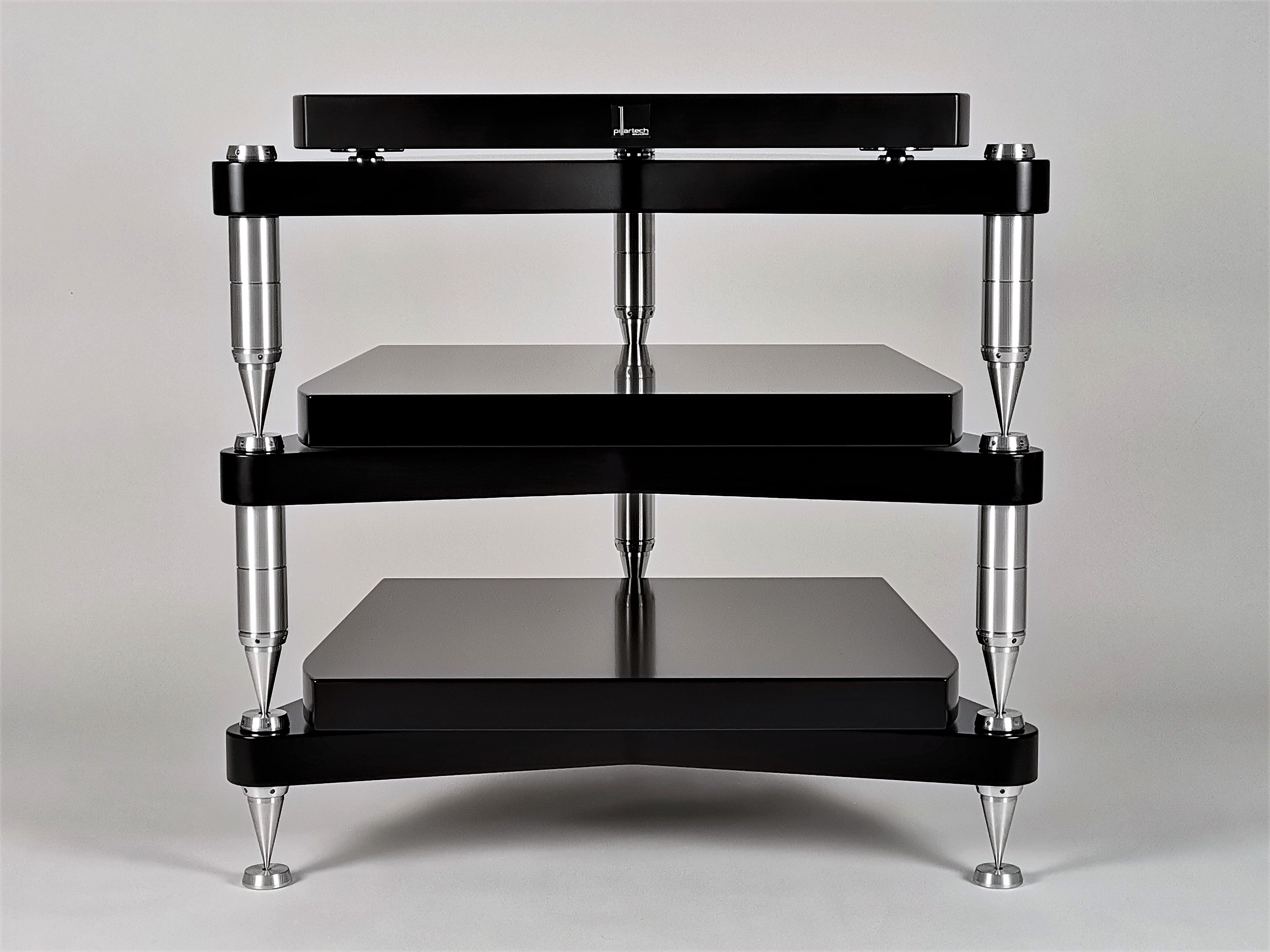 Modularly expandable High-End reference audio rack with three times eduction on each shelf