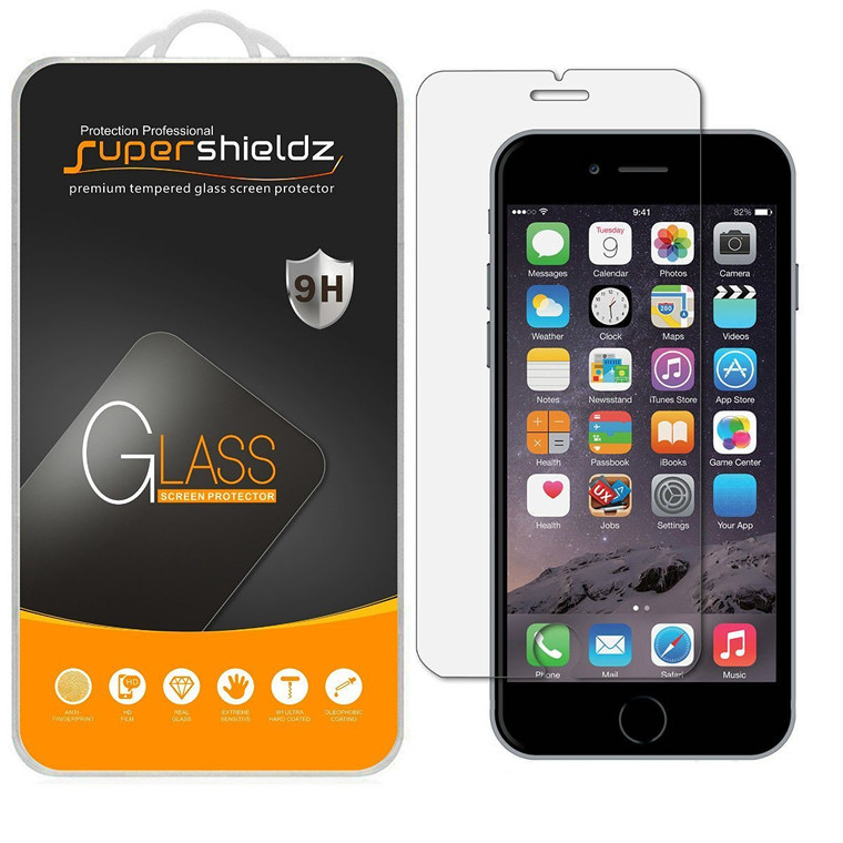 [2-Pack] Supershieldz for Tempered Glass Screen Protector for Apple iPhone 6 / 6S , Anti-Scratch, Anti-Fingerprint, Bubble Free