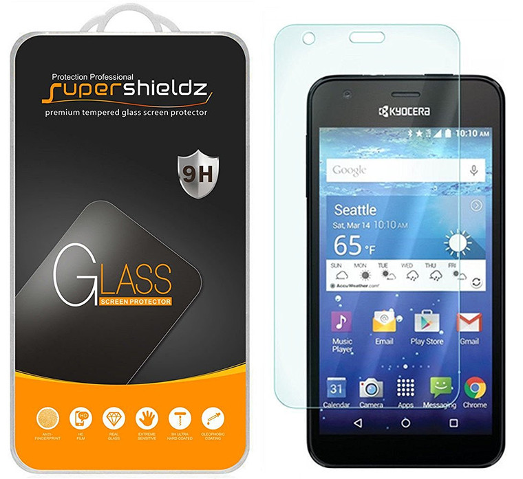 [2-Pack] Supershieldz for Kyocera Hydro Wave / Hydro Air Tempered Glass Screen Protector, Anti-Scratch, Anti-Fingerprint, Bubble Free