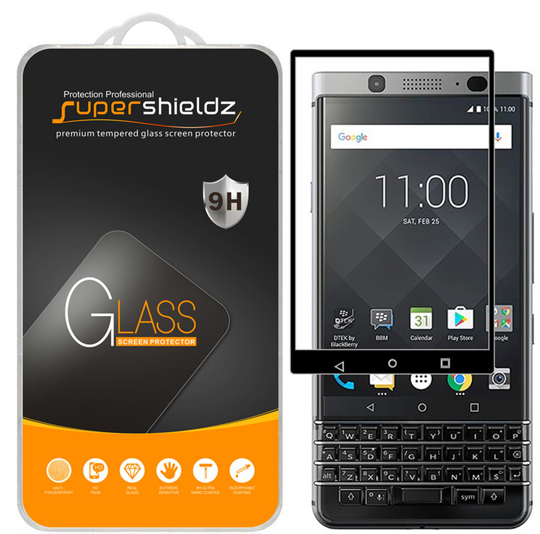 [2-Pack] Supershieldz for BlackBerry Keyone [Full Screen Coverage] Tempered Glass Screen Protector, Anti-Scratch, Bubble Free (Black)