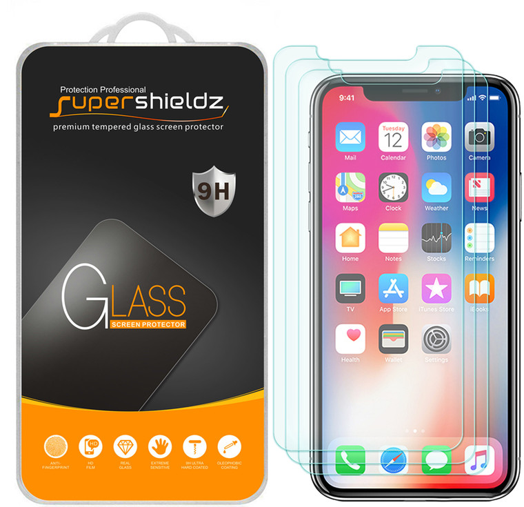 [3-Pack] Supershieldz for Tempered Glass Screen Protector for Apple iPhone X