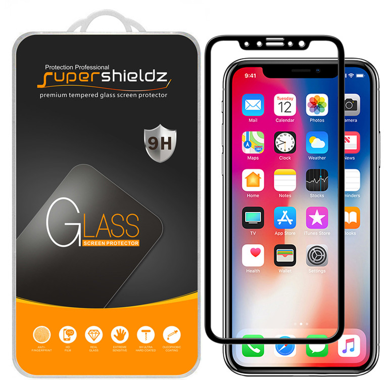 [2-Pack] Supershieldz for Apple iPhone X [Full Screen Coverage] Tempered Glass Screen Protector, Anti-Scratch, Bubble Free (Black)