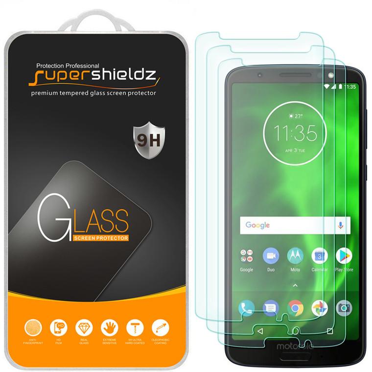 [3-Pack] Supershieldz for Motorola Moto G6 Tempered Glass Screen Protector, Anti-Scratch, Anti-Fingerprint, Bubble Free