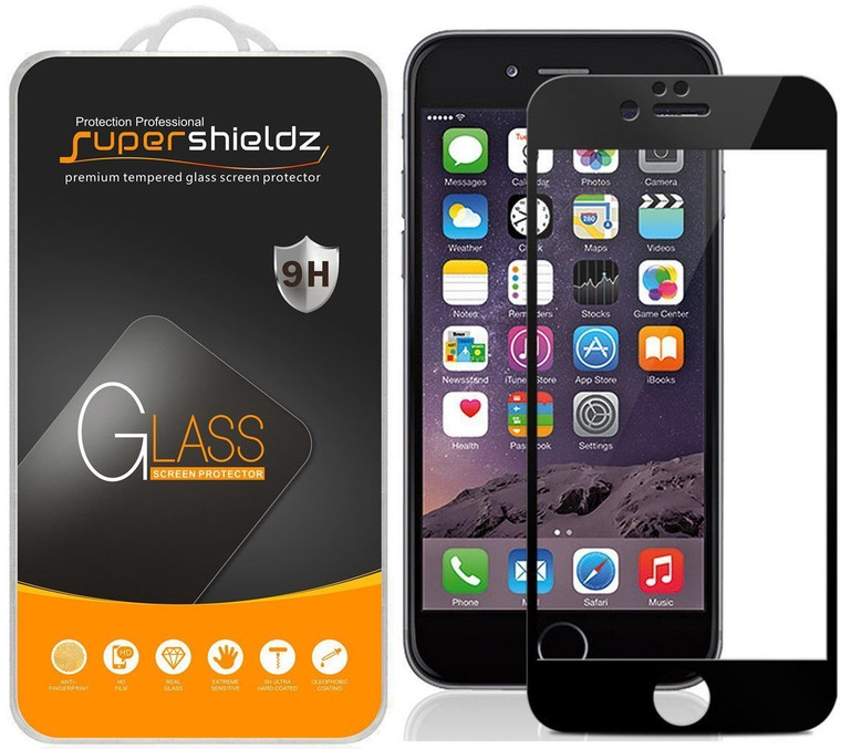 [2-Pack] Supershieldz for Apple iPhone 6 / iPhone 6S [Full Screen Coverage] Tempered Glass Screen Protector, Anti-Scratch, Bubble Free (Black)