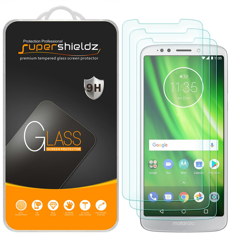[3-Pack] Supershieldz for Moto G6 Play Tempered Glass Screen Protector, Anti-Scratch, Anti-Fingerprint, Bubble Free