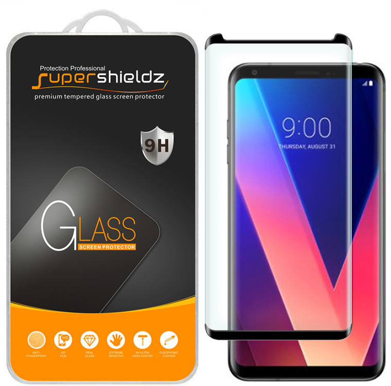 [2-Pack] Supershieldz for LG V35 ThinQ [Full Screen Coverage][3D Curved Glass] Tempered Glass Screen Protector, Anti-Scratch, Bubble Free (Black)
