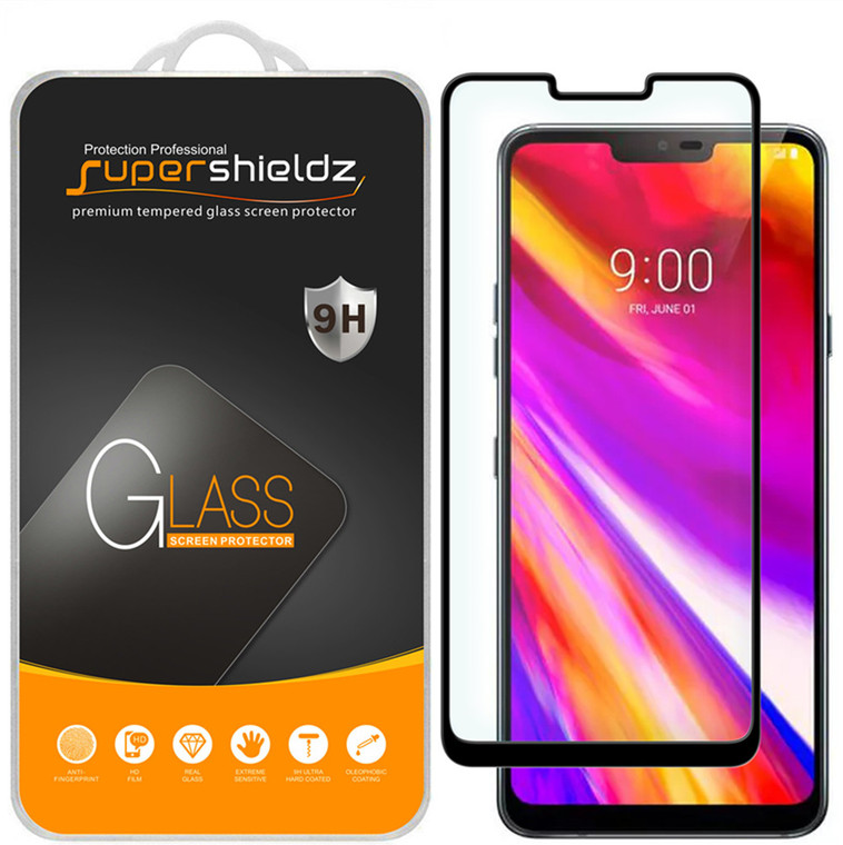 [2-Pack] Supershieldz for LG G7 ThinQ [Full Screen Coverage][3D Curved Glass] Tempered Glass Screen Protector, Anti-Scratch, Bubble Free (Black)