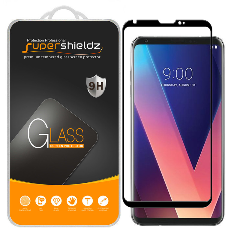 [1-Pack] Supershieldz for LG V30 Plus/LG V30+ [Full Screen Coverage][3D Curved Glass] Tempered Glass Screen Protector, Anti-Scratch, Bubble Free (Black)