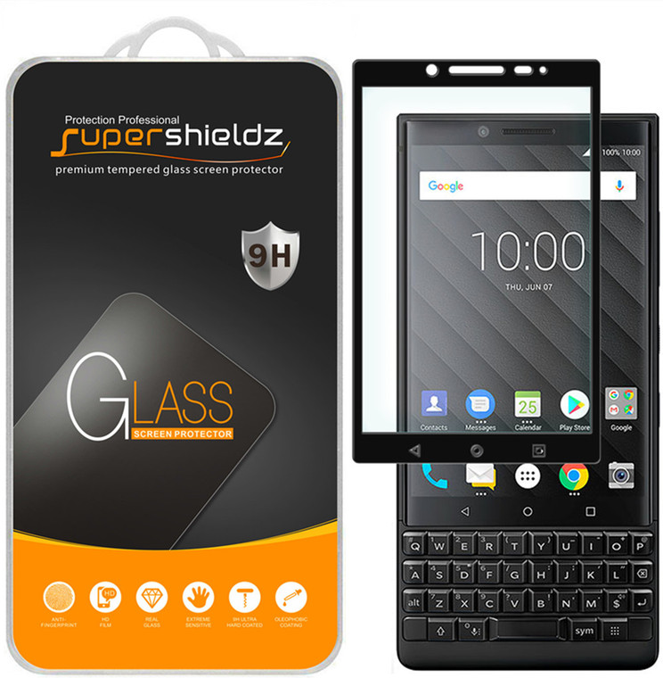 [2-Pack] Supershieldz for BlackBerry Key2 [Full Screen Coverage] Tempered Glass Screen Protector, Anti-Scratch, Bubble Free (Black)