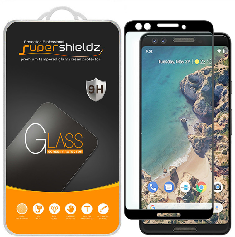 [2-Pack] Supershieldz for Google Pixel 3 [Full Screen Coverage][3D Curved Glass] Tempered Glass Screen Protector, Anti-Scratch, Bubble Free (Black)