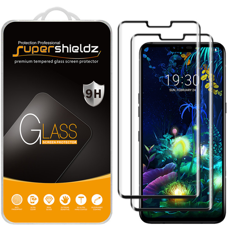 [2-Pack] Supershieldz for LG V40 ThinQ [Full Screen Coverage][3D Curved Glass] Tempered Glass Screen Protector, Anti-Scratch, Bubble Free (Black)