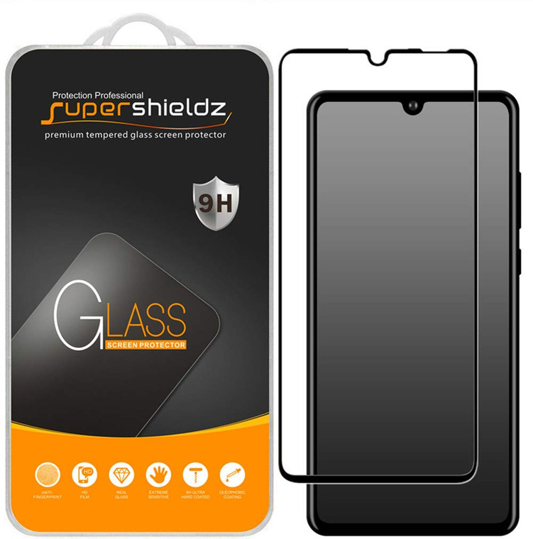 [2-Pack] Supershieldz for Huawei P30 Lite [Full Screen Coverage] Tempered Glass Screen Protector, Anti-Scratch, Bubble Free (Black)