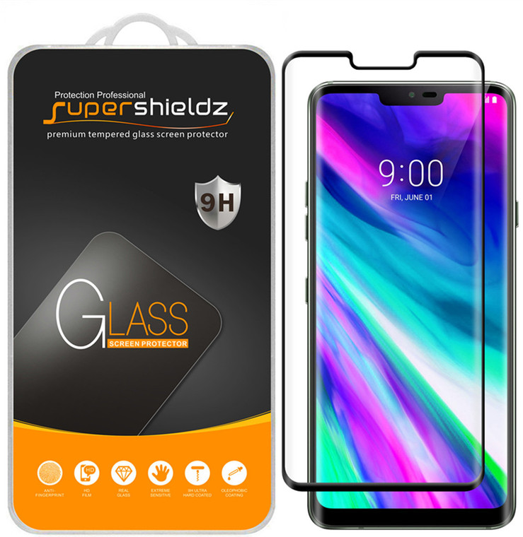 [2-Pack] Supershieldz for LG G8 ThinQ [Full Screen Coverage][3D Curved Glass] Tempered Glass Screen Protector, Anti-Scratch, Bubble Free (Black)