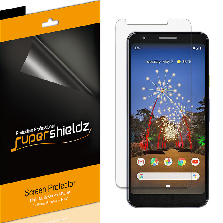 [6-Pack] Supershieldz for Google Pixel 3a XL Screen Protector, Anti-Bubble High Definition (HD) Clear Shield