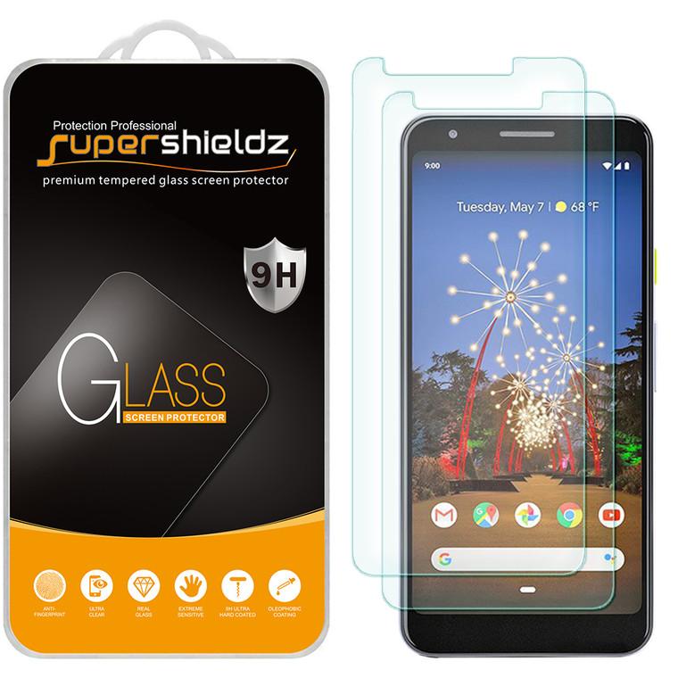 [2-Pack] Supershieldz for Google Pixel 3a XL Tempered Glass Screen Protector, Anti-Scratch, Anti-Fingerprint, Bubble Free