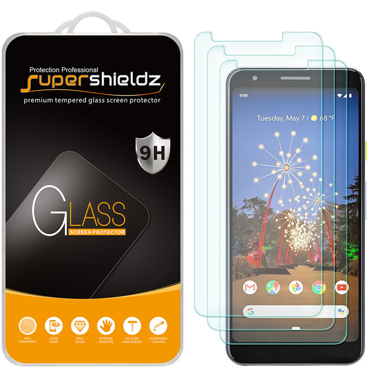 [3-Pack] Supershieldz for Google Pixel 3a XL Tempered Glass Screen Protector, Anti-Scratch, Anti-Fingerprint, Bubble Free