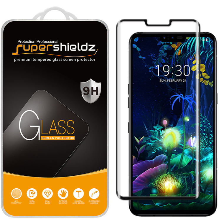 [1-Pack] Supershieldz for LG V50 ThinQ [Full Screen Coverage] [3D Curved Edge] Tempered Glass Screen Protector, Anti-Scratch, Bubble Free (Black)