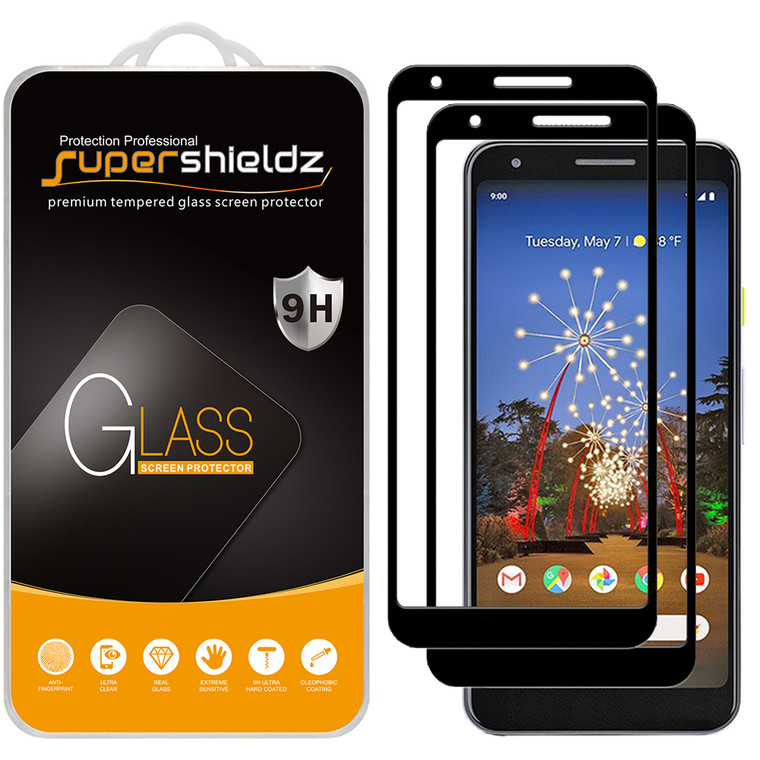 [2-Pack] Supershieldz for Google Pixel 3a XL [Full Screen Coverage] Tempered Glass Screen Protector, Anti-Scratch, Bubble Free (Black)