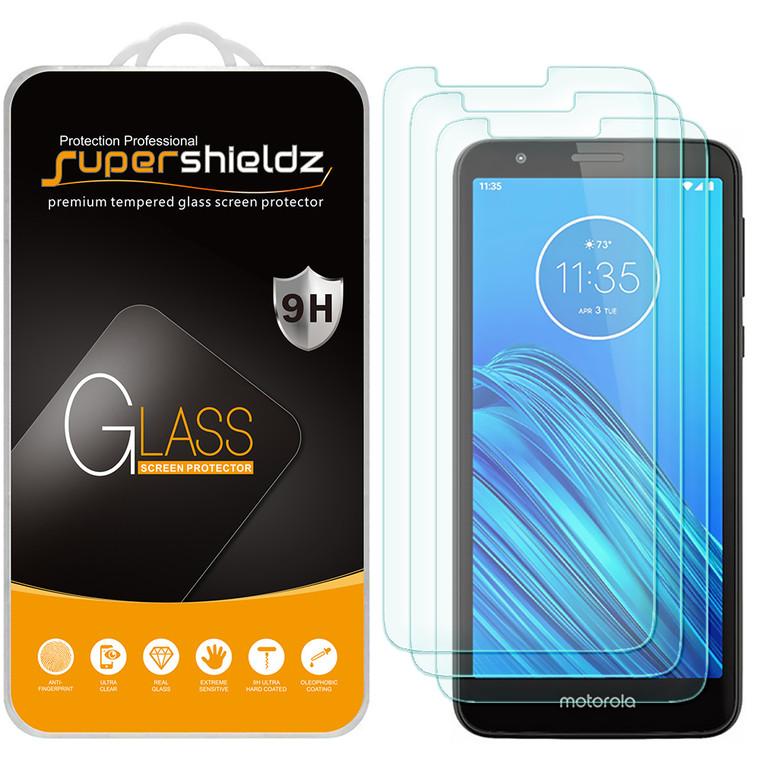 [3-Pack] Supershieldz for Motorola Moto E6 Tempered Glass Screen Protector, Anti-Scratch, Anti-Fingerprint, Bubble Free