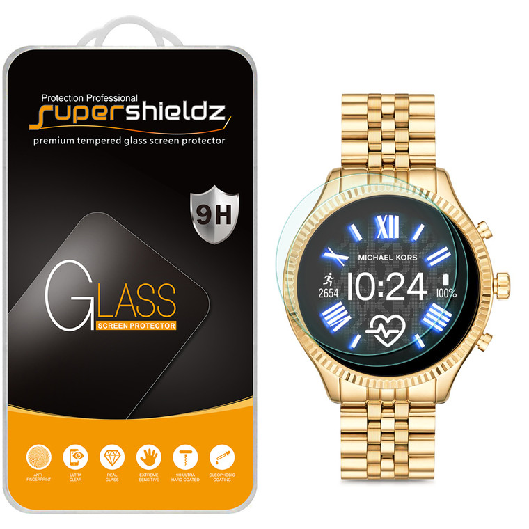 [2-Pack] Supershieldz for Fossil Gen 5 Smartwatch Carlyle HR Tempered Glass Screen Protector, Anti-Scratch, Anti-Fingerprint, Bubble Free