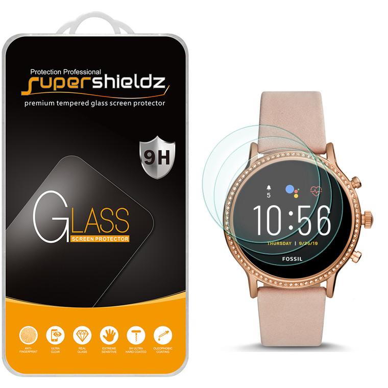 [3-Pack] Supershieldz for Fossil Gen 5 Smartwatch Julianna HR Tempered Glass Screen Protector, Anti-Scratch, Anti-Fingerprint, Bubble Free