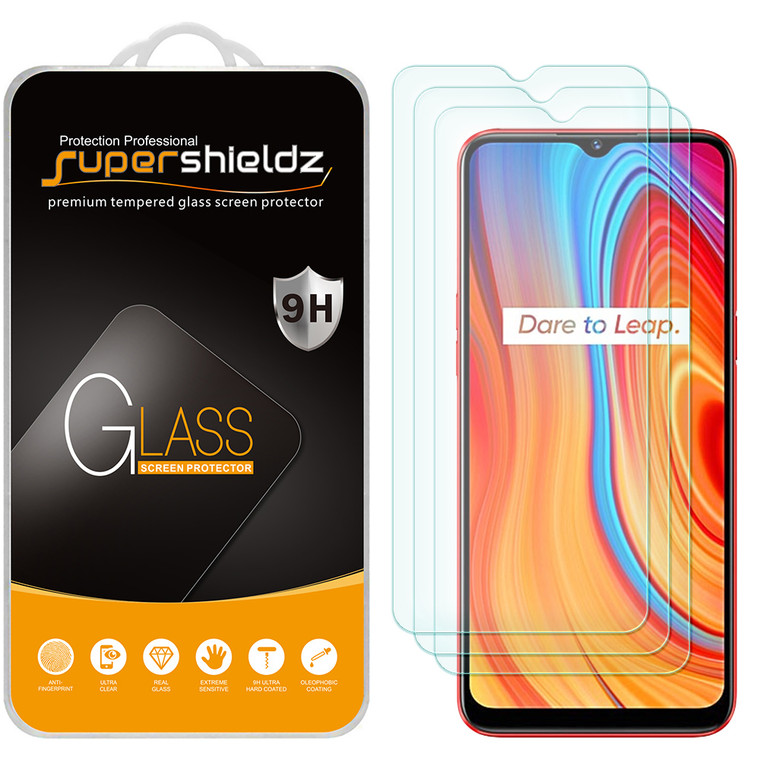 [3-Pack] Supershieldz for Realme C3 Tempered Glass Screen Protector, Anti-Scratch, Anti-Fingerprint, Bubble Free