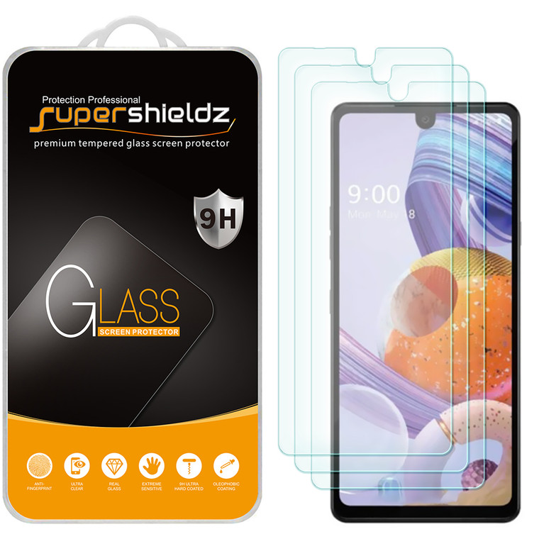 [3-Pack] Supershieldz for LG Stylo 6 Tempered Glass Screen Protector, Anti-Scratch, Anti-Fingerprint, Bubble Free