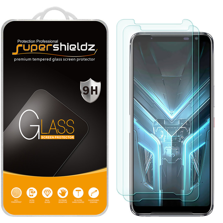 [2-Pack] Supershieldz for Asus (ROG Phone 3) Tempered Glass Screen Protector, Anti-Scratch, Anti-Fingerprint, Bubble Free