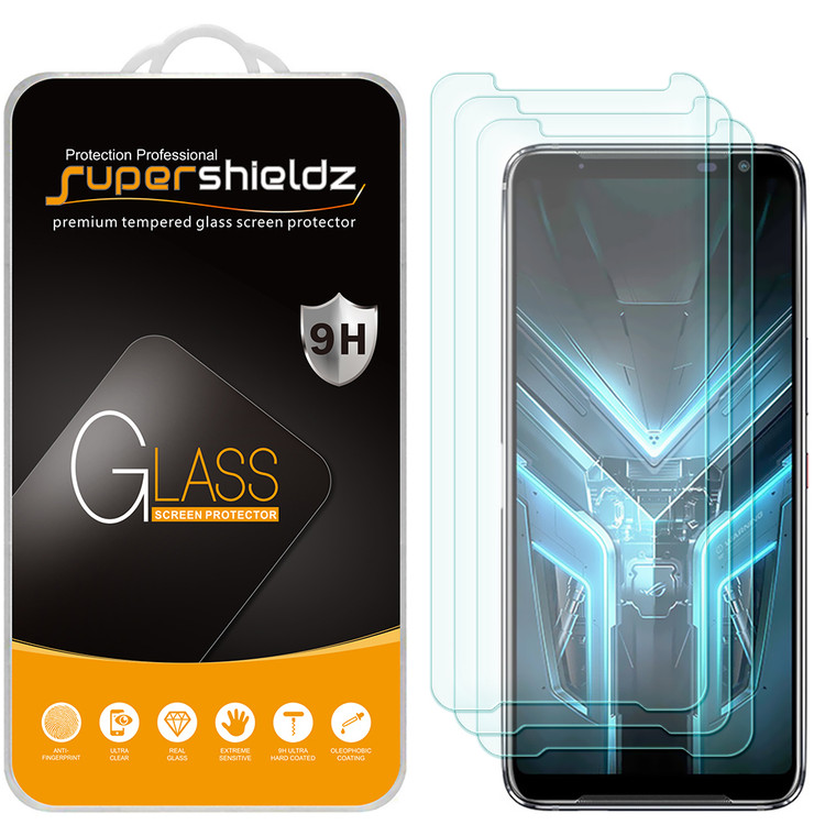 [3-Pack] Supershieldz for Asus (ROG Phone 3) Tempered Glass Screen Protector, Anti-Scratch, Anti-Fingerprint, Bubble Free
