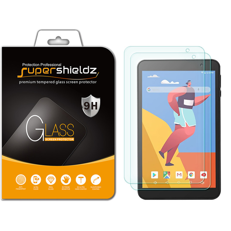 [2-Pack] Supershieldz for Gateway 8 inch Tablet Tempered Glass Screen Protector, Anti-Scratch, Anti-Fingerprint, Bubble Free