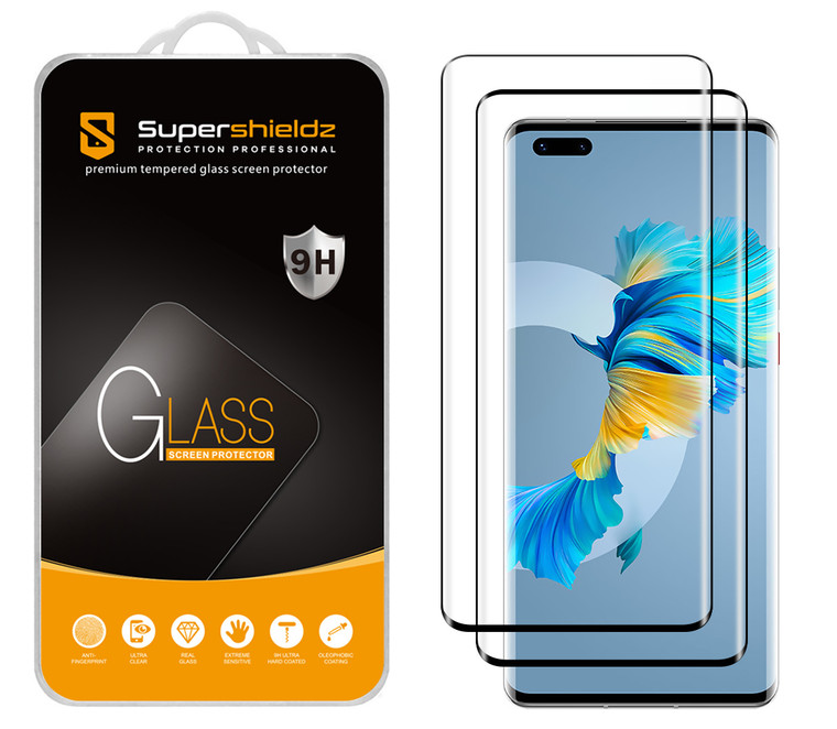 [2-Pack] Supershieldz for Huawei (Mate 40 Pro) [Full Screen Coverage] [3D Curved Glass] Tempered Glass Screen Protector, Anti-Scratch, Bubble Free (Black Frame)