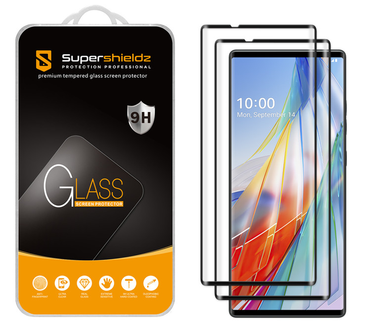 [2-Pack] Supershieldz for LG Wing [Full Screen Coverage] [3D Curved Glass] Tempered Glass Screen Protector, Anti-Scratch, Bubble Free (Black Frame)