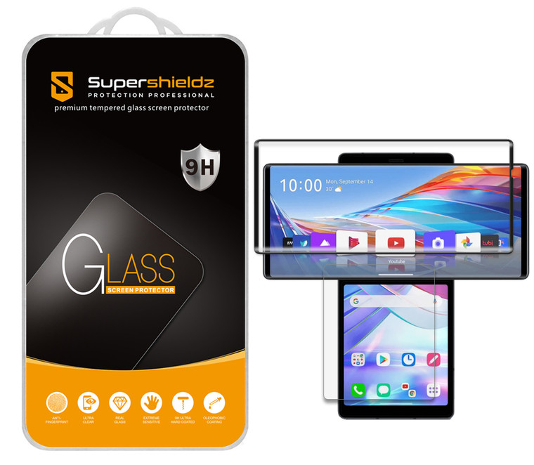 [2-Pack] Supershieldz for LG Wing (2 Tempered Glass Main Screen and 2 PET Dual Screen) Tempered Glass Screen Protector, Anti Scratch, Bubble Free (Black)