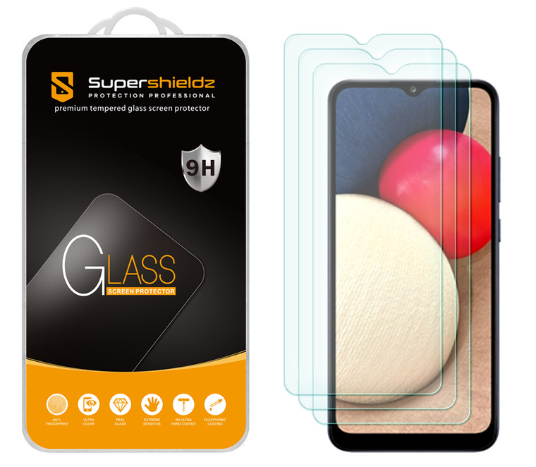 [3-Pack] Supershieldz for Samsung Galaxy A02S Tempered Glass Screen Protector, Anti-Scratch, Anti-Fingerprint, Bubble Free