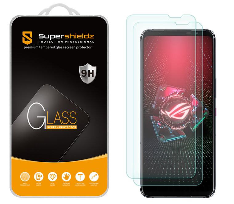 [2-Pack] Supershieldz for Asus Rog 5 / 5s / 5 Pro / 5s Pro / 5 Ultimate Tempered Glass Screen Protector, Anti-Scratch, Anti-Fingerprint, Bubble Free