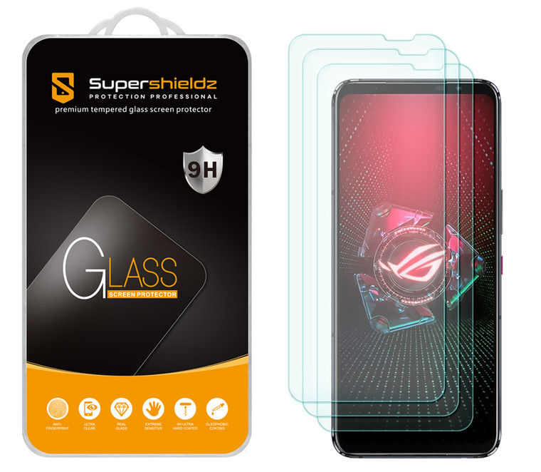 [3-Pack] Supershieldz for Asus Rog Phone  5 / 5s / 5 Pro / 5s Pro / 5 Ultimate Tempered Glass Screen Protector, Anti-Scratch, Anti-Fingerprint, Bubble Free