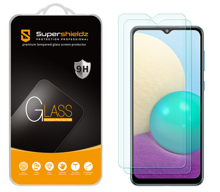 [2-Pack] Supershieldz for Samsung Galaxy A02 Tempered Glass Screen Protector, Anti-Scratch, Anti-Fingerprint, Bubble Free
