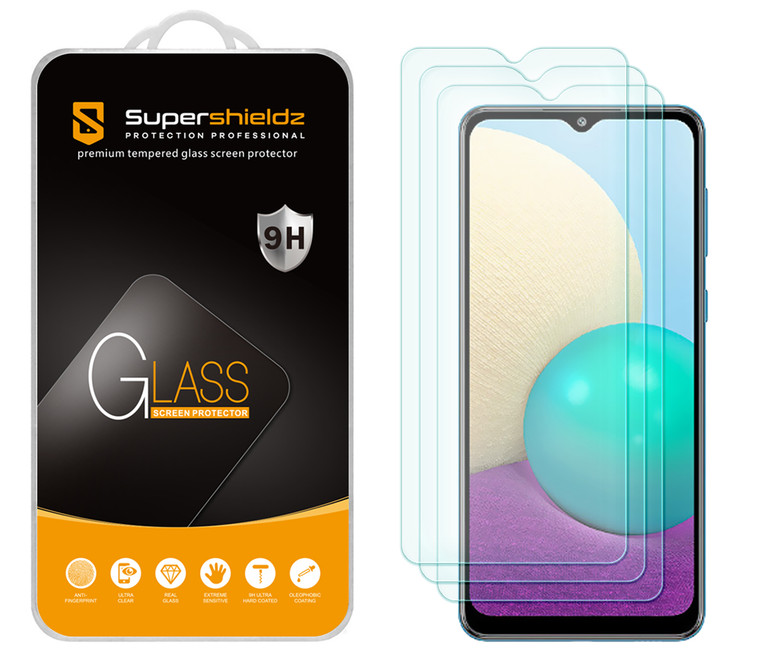 [3-Pack] Supershieldz for Samsung Galaxy A02 Tempered Glass Screen Protector, Anti-Scratch, Anti-Fingerprint, Bubble Free