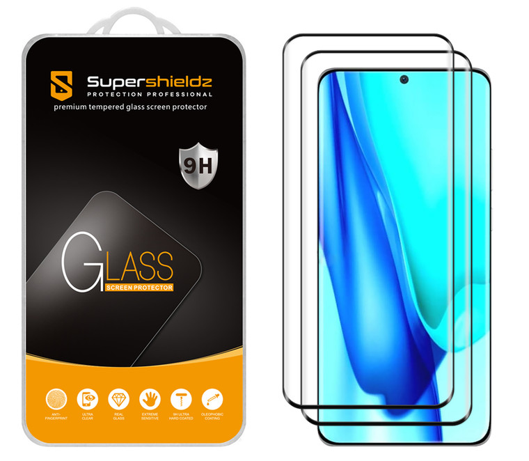[2-Pack] Supershieldz for Huawei P50 Pro [Full Screen Coverage] [3D Curved Glass] Tempered Glass Screen Protector, Anti-Scratch, Bubble Free (Black Frame)